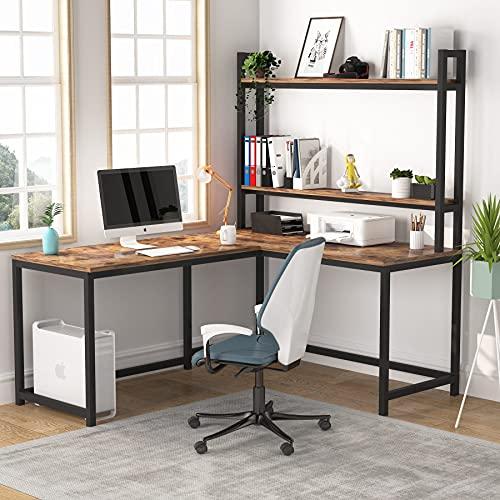 Tribesigns Escritorio de computadora en forma de L, estación de trabajo, escritorio de esquina industrial con estantería de 2 niveles para el hogar, la oficina, la escritura y el ahorro de espacio