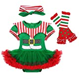 YiZYiF Vestito Travestimento per Halloween Natale Costume da Elfo Pagliaccio Bambina Pagli...