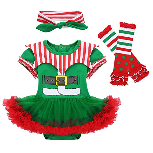 Oyolan Baby Boys Girls Christmas Outfits Xmas Elf Costumes Santa Claus Long Sleeves Romper Shirts with Striped Leggings Set Green&Red 9-12 Months