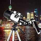 D&M Astronomía telescopio Refractor de 70 mm con el trípode Ajustable, bajo luz de la Noche Vision HD Impermeable, Adaptador Smartphone, Mochila y Filtro Luna