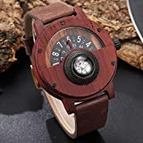 Yxxc Reloj de Madera Reloj de Madera Creativo Hombres Tocadiscos Brújula Dial Real Nogal Ébano Bambú Relojes de Madera Hombre Marrón Negro Madera Reloj de Pulsera