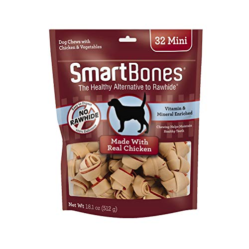 SmartBones Mini Chews with Real Chicken 32 Count, Rawhide-Free Chews for Dogs