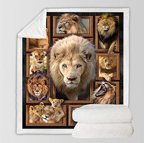 ZHUNAYIYI Impresión 3D Alfombra Lion Tiger Serie Super Soft Doble Bag Manta Sofá Sofá Cubierta Cubierta Mantas Charba Square Manta Cuatro Seasons Universal