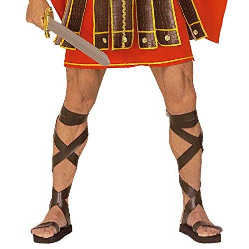 Braune Römersandalen Herren Römer Schuhe Lederoptik Gladiator Römerschuhe Centurion Römische Gladiatorschuhe Gladiatoren Sandalen Grieche Antike Mottoparty Accessoires Karneval Kostüm Zubehör