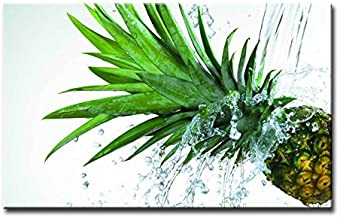 Alva443Anne Wall Art Painting Ananas Spash Water Pineapple Pictures Print On Canvas Giclee Wooden Framed 12X16 Inch