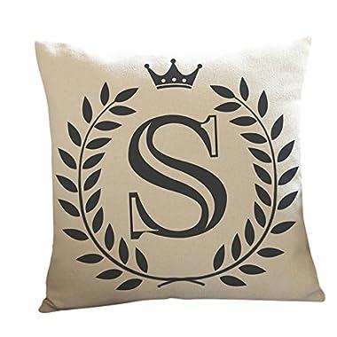 Woaills Plush Throw Pillow Case, Letters Waist Cushion Cover with Hidden Zipper 18  X 18  (S)