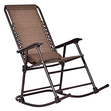 Goplus Folding Rocking Chair Zero Gravity Patio Chair w/Headrest Outdoor Portable Chair for Camping Fishing Beach (Dark Brown)
