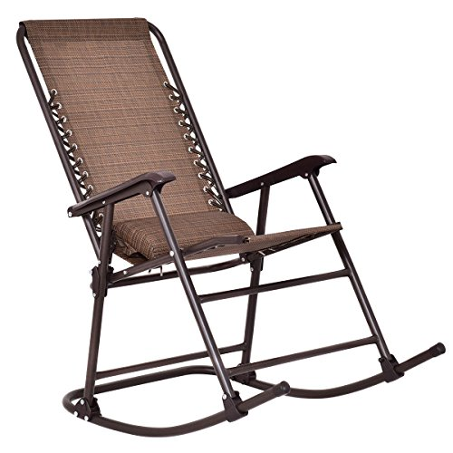 Folding Rocking Chair Rocker Outdoor Patio Furniture With Canopy & Headrest