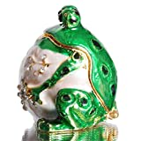 Waltz&F Round Frog Hinged Trinket Box Bejeweled Hand-Painted Ring Holder Animal Collectible Figurine Decoration