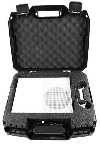 CASEMATIX Travel Case Compatible with Xbox One S - Hard Shell Carrying Case with Protective Foam Compartments for Console, Controller, Power Adapter, Games and More Accessories, Case Only
