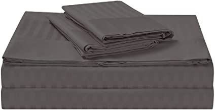 Luxury 1500TC Cotton Rich Stripe Sheet Set Fitted, Flat Sheets and Pillowcase(s) with Decorative Header Charcoal Queen
