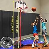 Panier de Basket sur Pied - Hauteur Réglable 113-236 cm, avec roulettes, pour Enfants et Adolescents, Extérieur et...