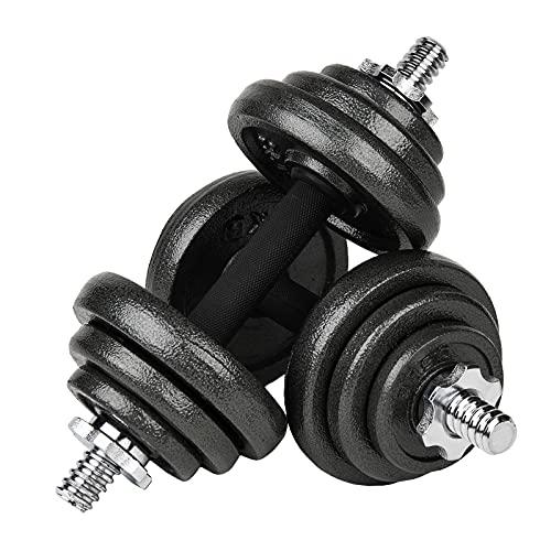 #DoYourFitness All-in-One Hantelset 20 KG | Für alle Muskelgruppen geeignet | Kurzhantelstange und Hantelscheiben | Gusseisen