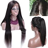 5'x5' Silk Top Full Lace Human Hair Wigs Silky Straight Malaysia Virgin Hair Silk Base Wig with Natural Part Baby Hair (24inch)
