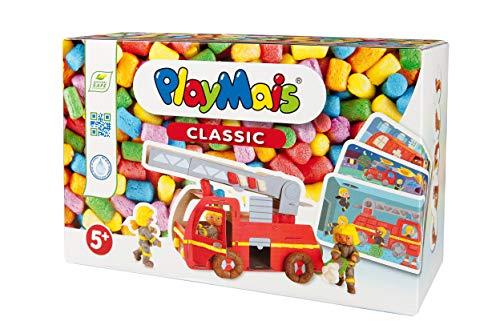 PlayMais Fun to Play Firetruck Jeu de Construction pour Les Enfants de 3 Ans et Plus   kit de Bricolage avec 550 pièces Couleurs, 15 modèles et Instructions pour Les Pompiers