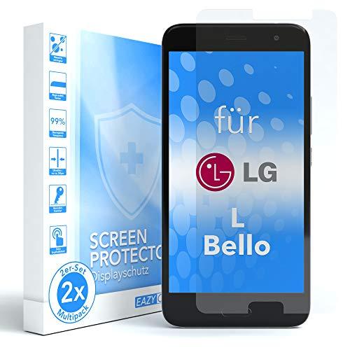 EAZY CASE 2X Panzerglas Bildschirmschutz 9H Festigkeit für LG L Bello, nur 0,3 mm dick I Schutzglas aus gehärteter 2,5D Panzerglasfolie, Bildschirmschutzglas, Transparent/Kristallklar