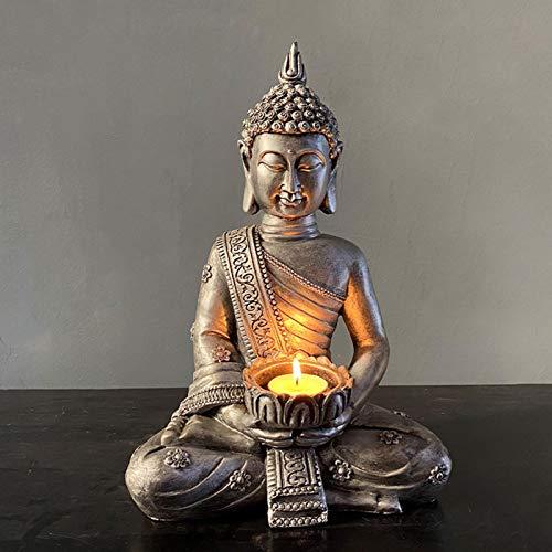 Soporte Para Vela De Estatua De Buda, Candelabro De Buda, Buda Sentado De Resina De Meditación De 12 Pulgadas Con Candelita Decorativo Para Sala De Estar O Baño, Jardín Zen