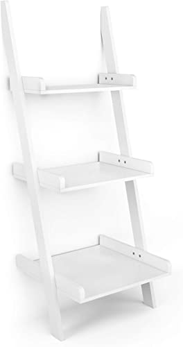 popular Giantex Ladder Shelf 3-Tier Wall-Leaning Bookshelf Ladder Bookcase Storage Display Shelf for outlet sale Home lowest and Office, Multipurpose Plant Flower Stand Shelf, White outlet sale