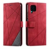 Hülle für Huawei P40 Lite, SONWO Premium Leder PU Handyhülle Flip Hülle Wallet Silikon Bumper Schutzhülle Klapphülle für Huawei P40 Lite, Rot