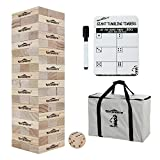 Win SPORTS Giant Tumbling Timbers - Yard Games Large Wooden Tumble Tower Wood Blocks Stacking Yard Game, with 1 Dice Set &Stacks to Over 5 FT,Made from Premium Pine (7.5'x2.5'x1.5', 54 PCS)