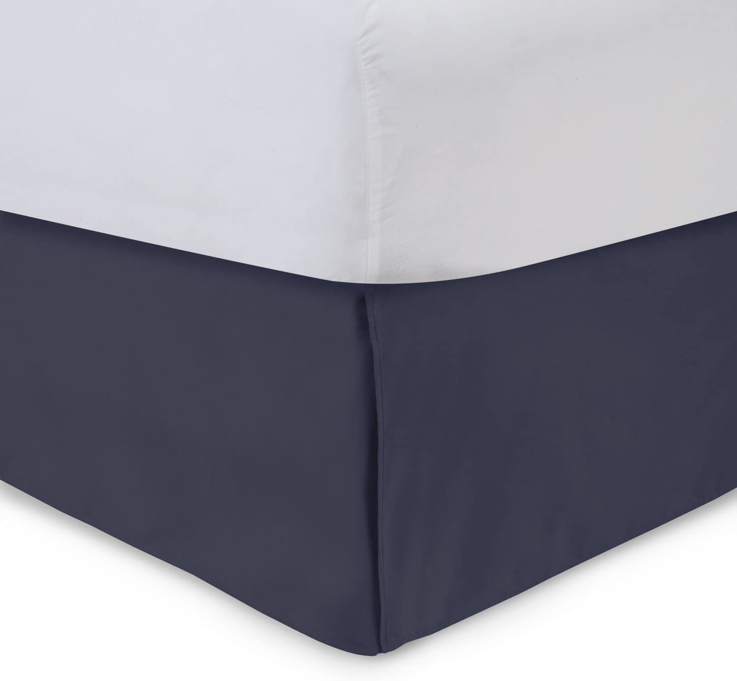 Tailored Bed Oakland Mall Skirt - Queen 18 Cotton discount Blend inch Drop Be Navy