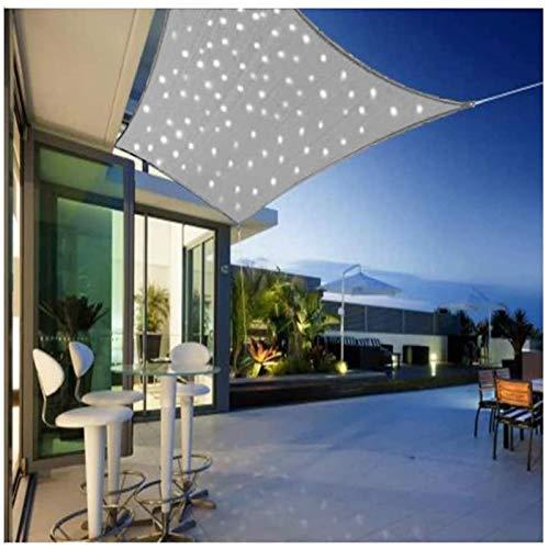 YSHUAI Toldo Vela Rectangular con Iluminación De Luz LED, Velas De Sol Impermeables, Protección Solar para Jardín O Terraza Permeable Al Aire Poliéster PES Transpirable,Gris,3X3m