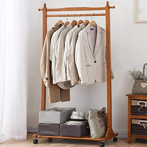 YIONGA CAIJINJIN Hangers Clothing Rack Solid Wood Simple Hanger Floor Home Simple Modern Bedroom Shelf for Bedroom Laundry Room (Color : Brown, Size : 80x40x157cm)