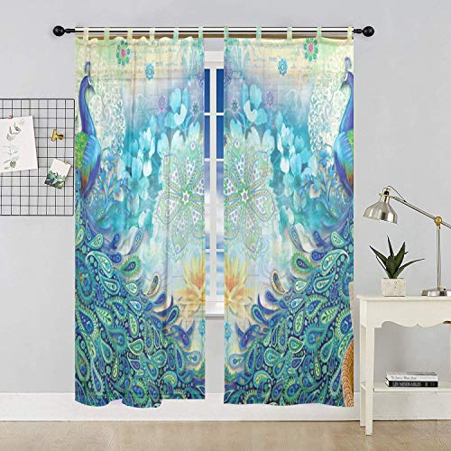ALAZA Bedroom Decor Living Room Decorations Peacock Pattern Print Tulle Polyester Door Window Gauze / Sheer Curtain Drape Two Panels Set 55x78 inch ,Set of 2