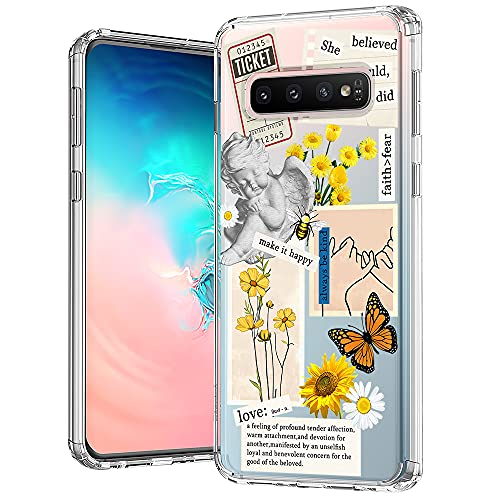 MOSNOVO Case for Samsung Galaxy S10, Vintage Collage Sunflower Butterfly Slim Clear Case Design with Shockproof TPU Bumper Protective Cover Case for Women Girls