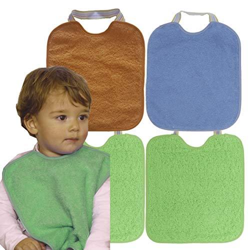 Ti TIN - Pack 4 Baberos Impermeables para Bebé Niña 90% Algodón | Lote de 4 Baberos con cierre de Goma para bebés de 6 a 18 meses, 23x28 cm. Se puede lavar a máquina.