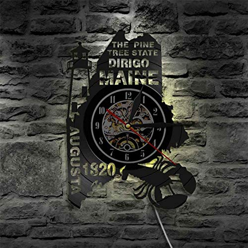 YINU The Pine Tree State Dirigo Maine Established 1820 Vinyl Wall Clock Rustic Cabin Country Decor Led Lamp Map Lighting Watch
