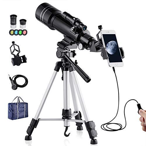 Telescopio Refractor BNISE para niños y Adultos Astronomía para Principiantes, Objetivo 70 mm, 400 mm Distancia Focal, con Trípode Ajustable, Adaptador para Teléfono Inteligente y Buscador Lunar