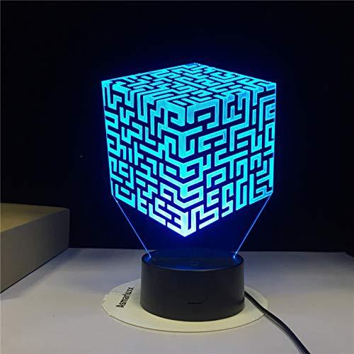 Luz nocturna 3D Rubik's Cube Maze, lámpara de ilusión óptica LED, A   Touch negra Base (7 colores), Decoración del hogar, Acrílico, Regalo para niña