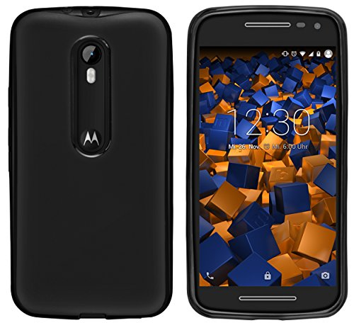 mumbi Hülle kompatibel mit Motorola Moto G3 Handy Hülle Handyhülle, schwarz