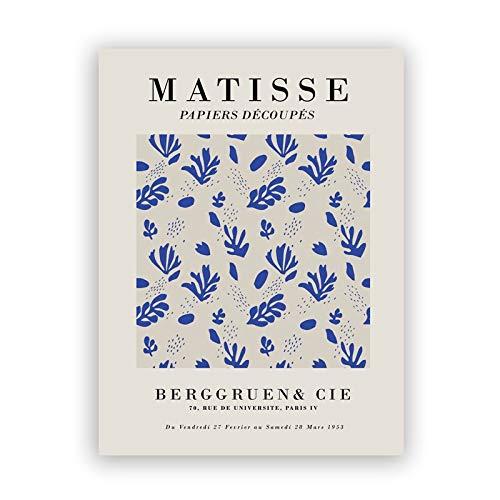 Carteles de exposición de Henri Matisse e impresiones cuadro de arte de pared azul cuerpo azul familia pintura de lienzo sin marco A5 15x20cm
