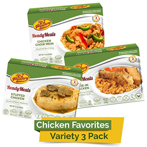 Kosher MRE Meat Meals Ready to Eat, Chicken Favorites Variety (3 Pack) - Prepared Entree Fully Cooked, Shelf Stable Microwave Dinner – Travel, Military, Camping, Emergency Survival Protein Food Supply