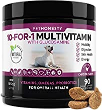 10 in 1 Dog Multivitamin with Glucosamine - Essential Dog Vitamins with Glucosamine Chondroitin, Probiotics and Omega Fish Oil for Dogs Overall Health - (Chicken)