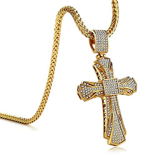 KnSam Collana Croce Crocifisso Acciaio Diamanti Uomo Gioielli Unisex con Link Oro Cristallo
