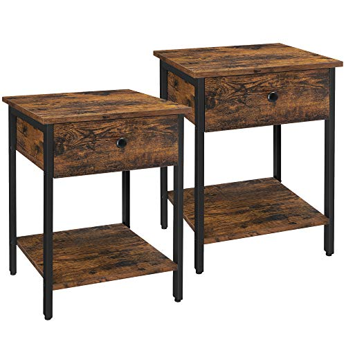 VASAGLE Nightstands, End Tables, Set of 2 Side Tables with Drawer and Shelf, Bedroom, Easy Assembly, Steel, Industrial Design, Rustic Brown and Black ULET506B01