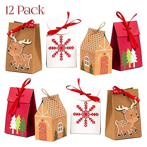 NIMU 12 Stück Adventskalender Geschenktüten Weihnachtsgeschenkbeutel Wiederverwendbare Papierboxen für Geschenke Süßigkeiten Kekse Bundle Xmas Theme Geschenkverpackung