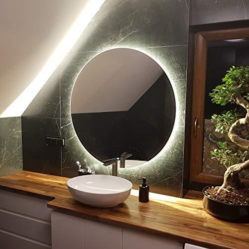 Artforma Specchio Rotondo da Bagno Controluce LED | 60 cm | su Misura | Personalizza Specchio Tondo da Parete Bagno | LED Premium | Colore LED - Bianco Freddo/Caldo | L82