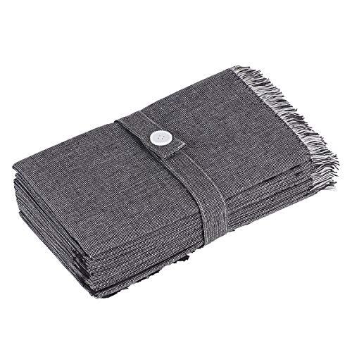 Tovaglioli di stoffa Sweet Needle – Bicolore nero con volant – 50 x 50 cm – Oversize – Qualità pesante, senza pelucchi, grado hotel, matrimonio e feste – Lavabile in lavatrice (confezione da 12)