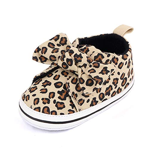 Baby Girl Boy Shoes Infant Newborn Shoes, 6-12 Months Baby Walking Shoes, Soft Sole Leopard Sneakers Boots for Babies