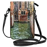Jiger Women Small Cell Phone Purse Crossbody,Italian City On Water Historical Landmark Famous Streets Houses Gondolas Europe