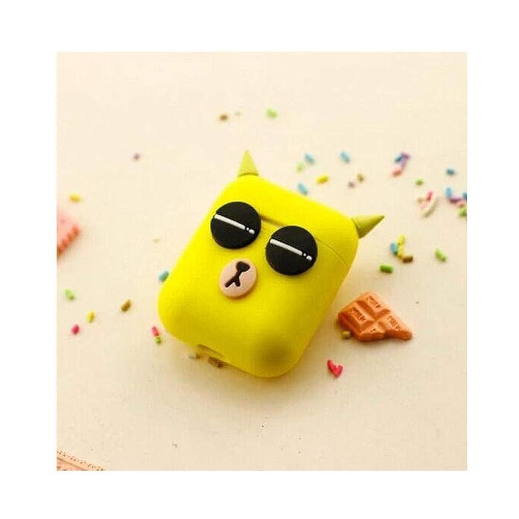 定義エッセンス性別Wuhuizhenjingxiaobu Airpodヘッドセット、シリコンワイヤレスBluetoothヘッドセット収納ボックス、かわいい漫画スタイル - キャットアイ 新しい (Color : Yellow)