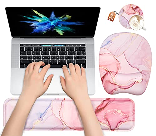 Keyboard Wrist Rest and Mouse Pad with Wrist Support, Ergonomic Memory Foam Wrist Rest for Laptop, Computer, Easy Typing & Pain Relief Perfect for Home Office Gaming-Pink Marble