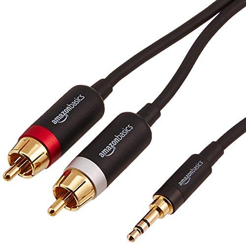 Amazon Basics PBH-19824 Cinch-Audiokabel, 3,5-mm-Klinkenstecker auf 2 x Cinch-Stecker, 7,62m