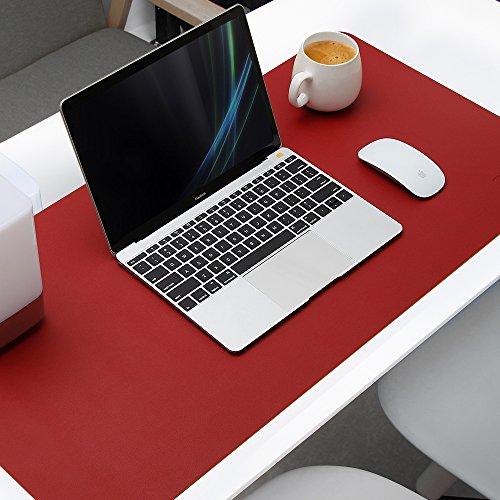 AtailorBird Mauspad Groß PU Leder Doppelseitige Schreibtischunterlage 80 x 40cm Multifunktionales Office Mausepad wasserdichte Zweiseitig Nutzbar Doppelte Farbe Ideal für Büro und Zuhause - Rot Gelb