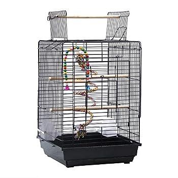 Cage à Oiseaux Portable, Cage Oiseaux Interieur avec Poignée et Toits Ouvrant, 40 x 40 x 58cm, Équipée 3 Perchoir en Bois, 2 Mangeoires, 2 Jouets, iseaux Perruche Perroquet Canari (Noir)
