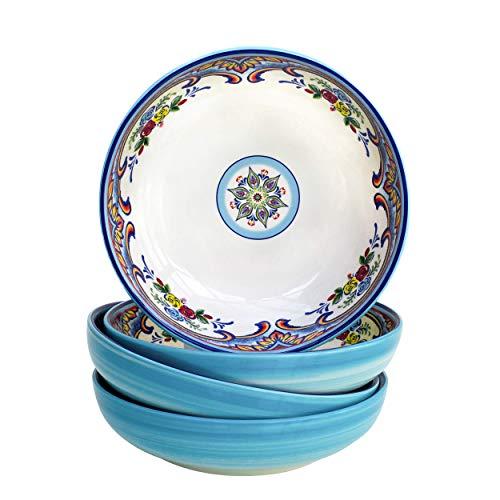 Euro Ceramica Zanzibar Collection Pasta Bowls, Set of 4, Spanish Floral Design, Multicolor Blue